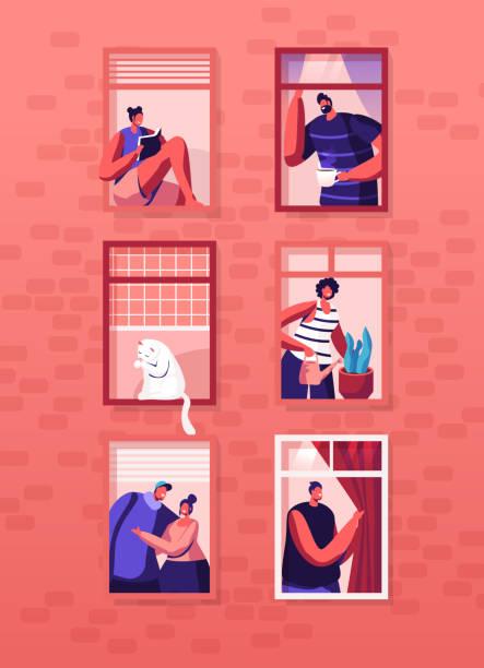 stockillustraties, clipart, cartoons en iconen met human life concept. buitenste muur van huis met verschillende mensen en kat in windows. gelukkige mannen en vrouwen kijken uit van appartementen drinken thee, knuffelen, drenken plant, lezen. cartoon platte vector illustratie - buren