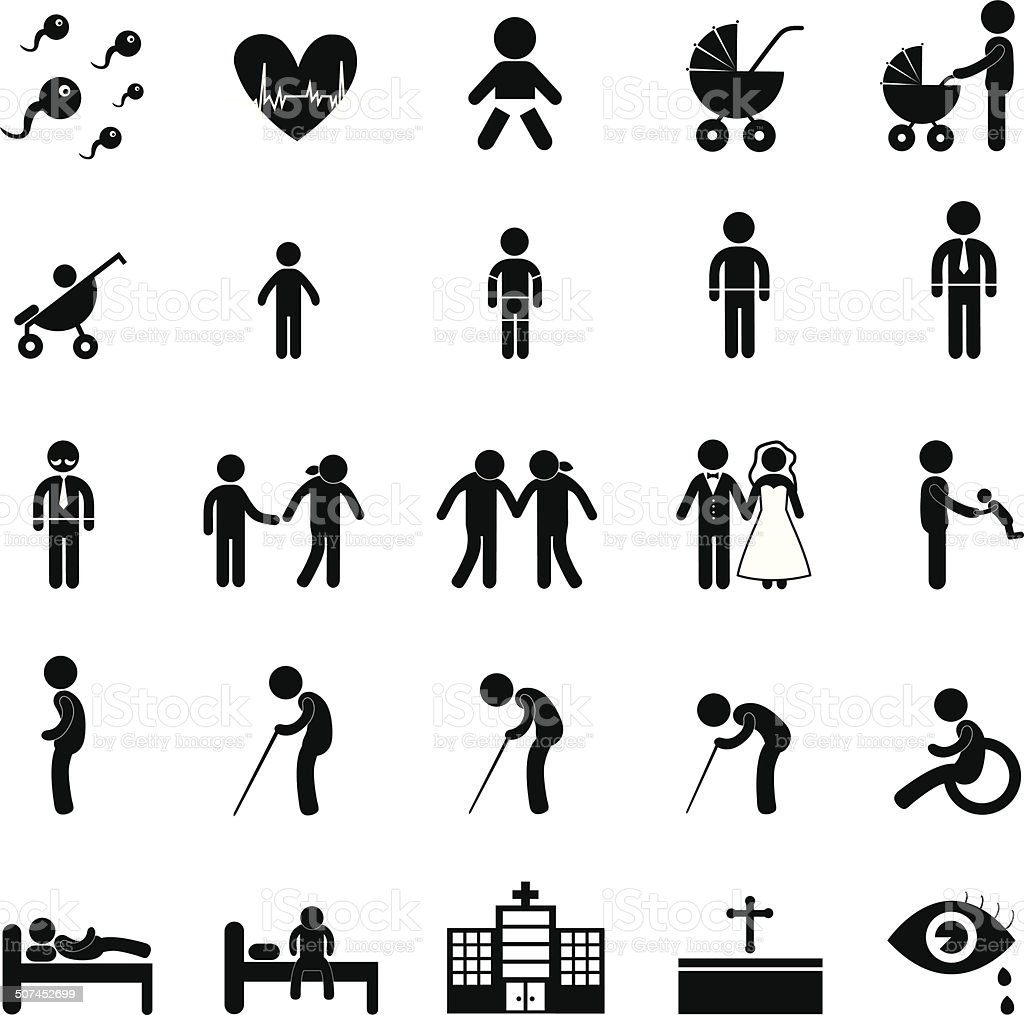 human life icon vector art illustration