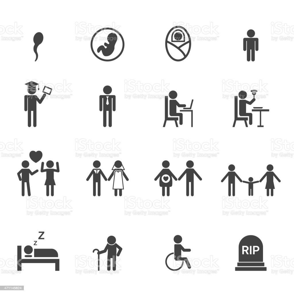 human life icons vector art illustration
