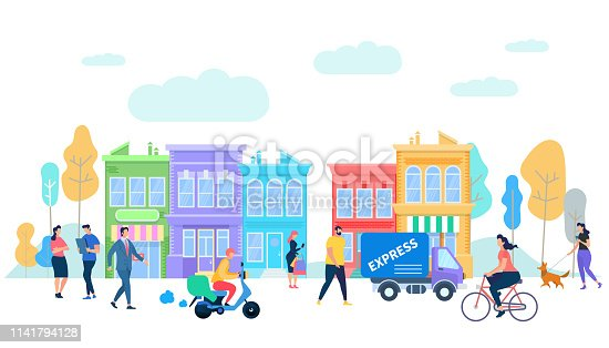 Human Life in Moder City. Summer Time People Activity. Characters Riding Bycicle, Scooter, Van Car, Express Delivery, Walking with Dog, Talking on Urban Background Cartoon Flat Vector Illustration.