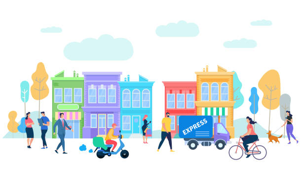 Human Life in Moder City. Summer Time Activity. Human Life in Moder City. Summer Time People Activity. Characters Riding Bycicle, Scooter, Van Car, Express Delivery, Walking with Dog, Talking on Urban Background Cartoon Flat Vector Illustration. community backgrounds stock illustrations