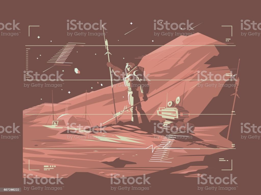 Human life on surface of planet Mars vector art illustration