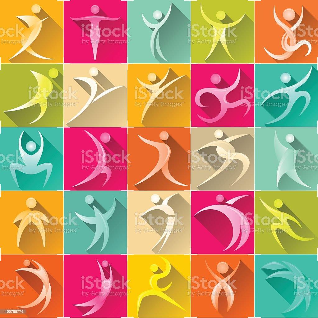 human logo set vector art illustration