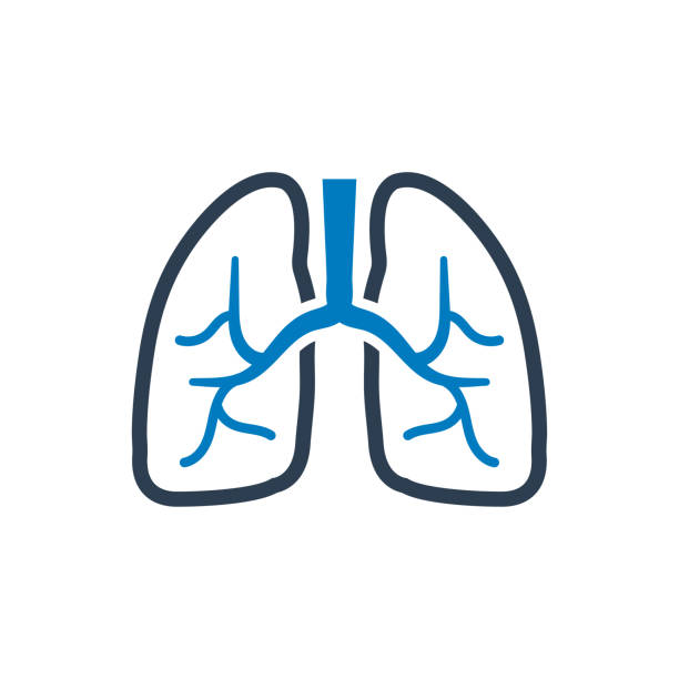 human lung icon - breathing stock illustrations