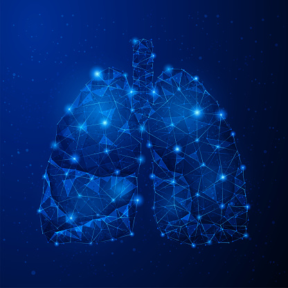 Human Lungs - Abstract vector image - three-dimensional low poly illustration. Outlines, triangles, dots. Plexus. Template design on dark blue background.