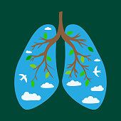World Tuberculosis Day. World Pneumonia Day. Human lungs. Medical flat illustration. Health care. Tree branches like the lungs. Branches with leaves. Sky with clouds and birds