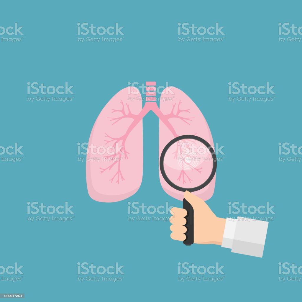 Human lungs with hand holding magnifying glass. Medical tool for diagnosing of diseases of lungs. Health care and medicine concept vector art illustration