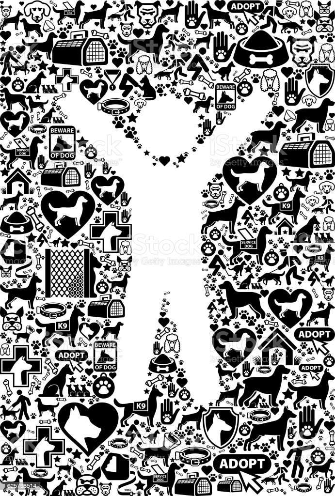 Ilustración de Human Male Body Dog And Canine Pet Black Icon Pattern ...