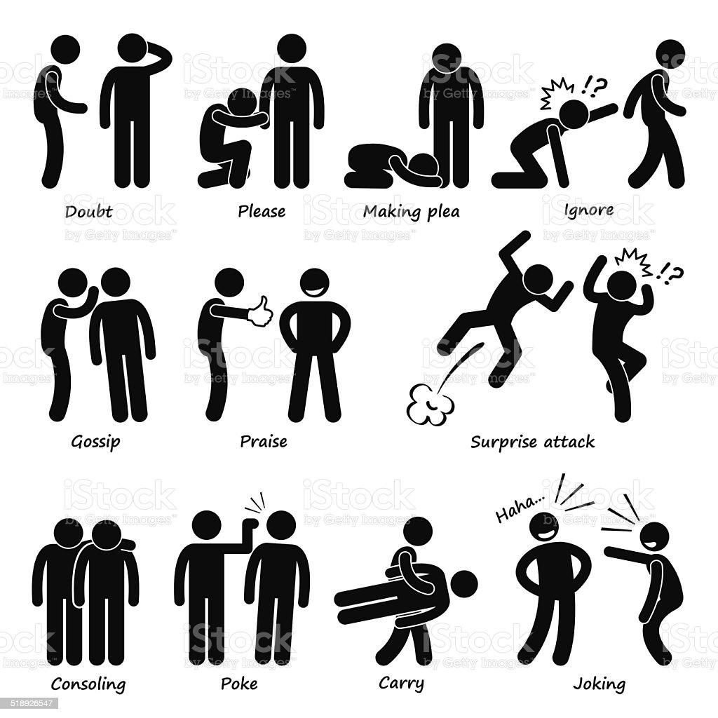 Human Man Action Emotion Stick Figure Cliparts vector art illustration