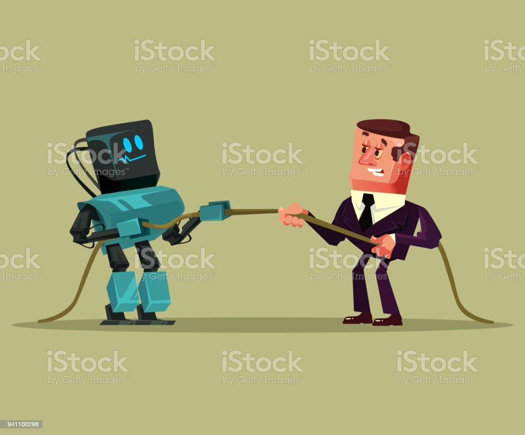 Human man office worker manager businessman vs robot artificial intelligence pulling rope competition. Technology futuristic battle vector art illustration