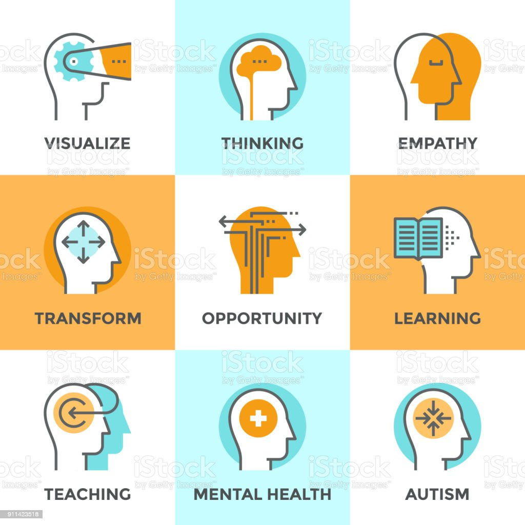 İnsan zihinsel işlem satırı Icons set - Royalty-free Akıllılık Vector Art