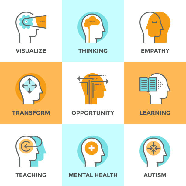 ilustraciones, imágenes clip art, dibujos animados e iconos de stock de proceso mental humano conjunto de iconos de línea - profesional de salud mental