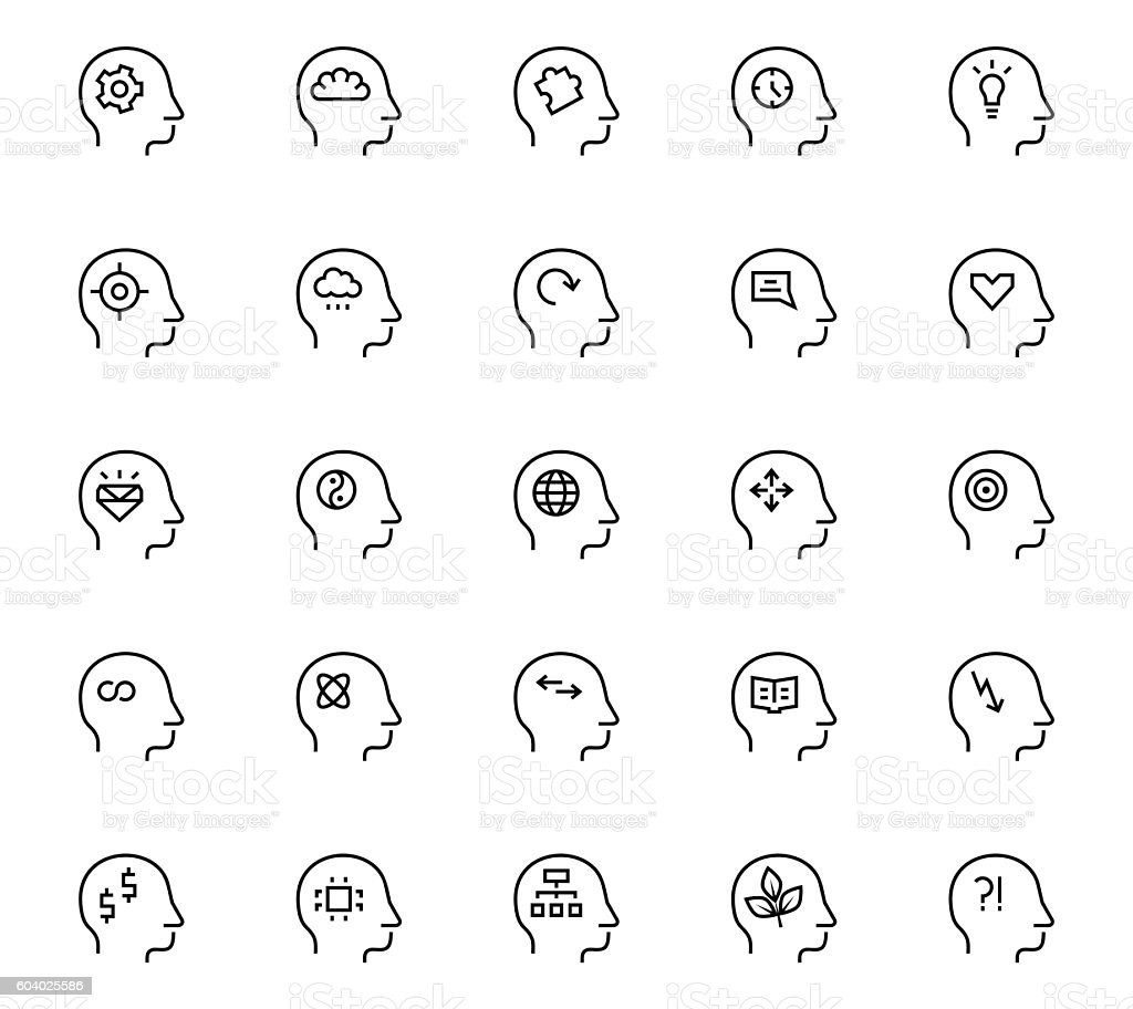 Human mind icon in thin line style. Vector symbols. vector art illustration