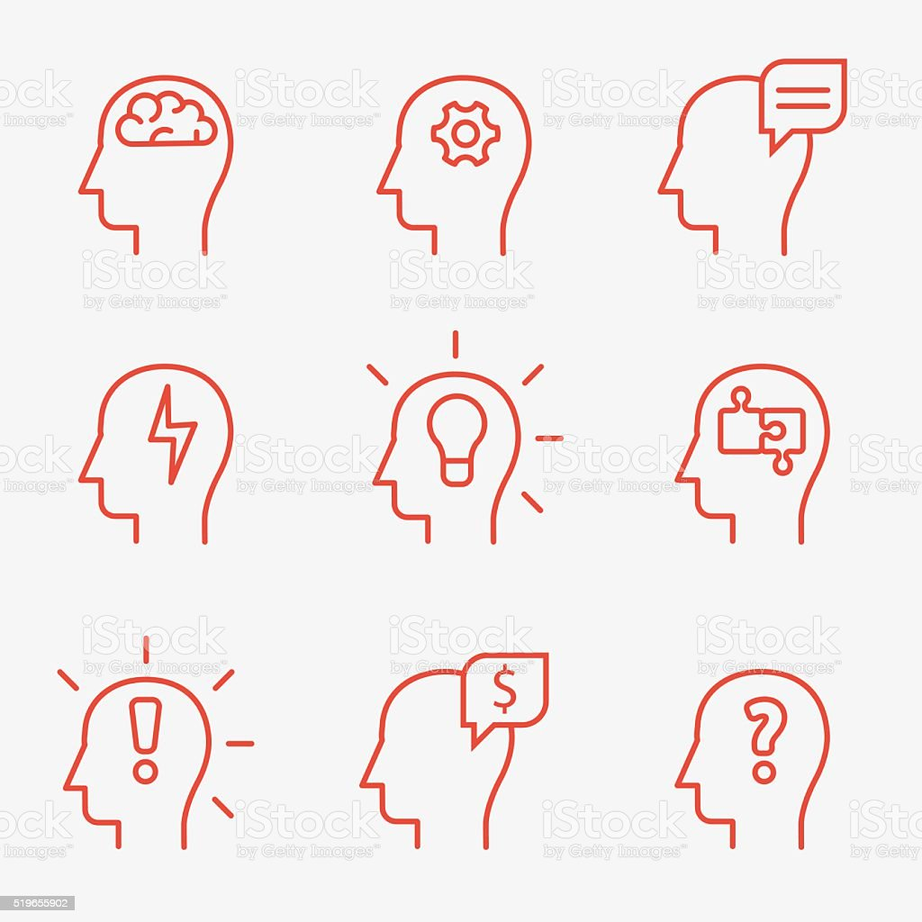 Human mind icons vector art illustration