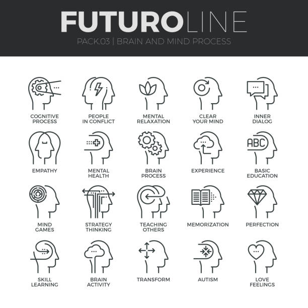 human mind process futuro line icons set - mindfulness stock illustrations