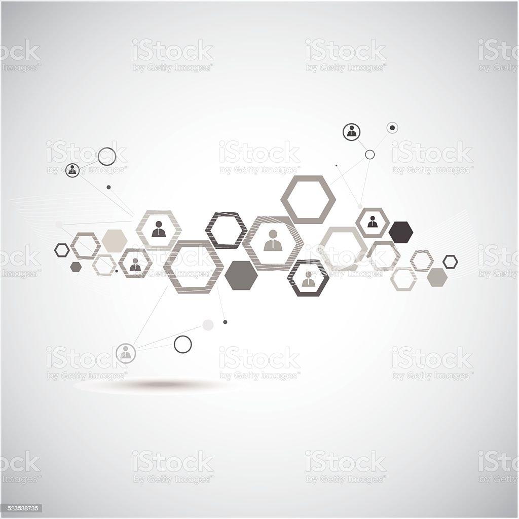 Human model connection vector art illustration