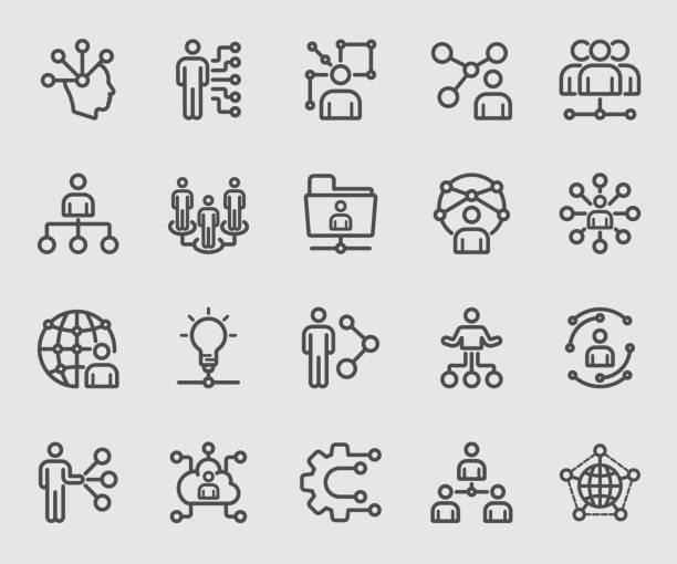 ikona ludzkiej linii sieciowej - sieć komputerowa stock illustrations