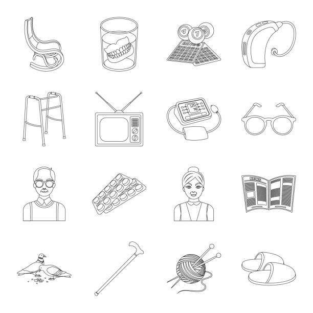 human old age outline icons in set collection for design. pensioner, period of life vector symbol stock web illustration. - old man slippers stock illustrations, clip art, cartoons, & icons