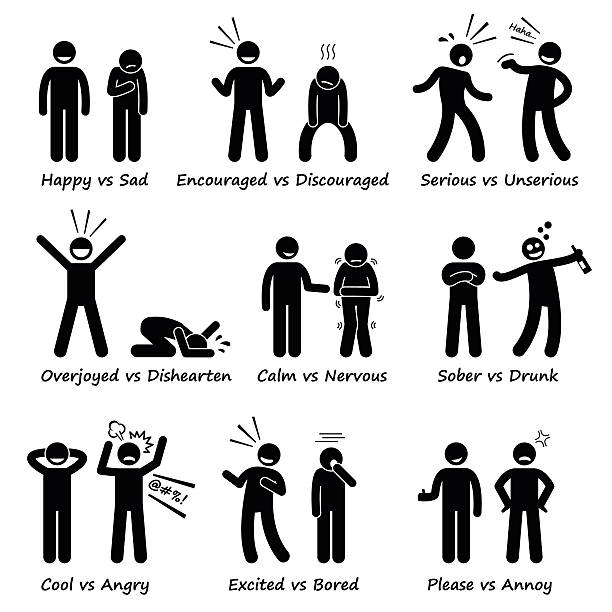 Human Opposite Behaviour Positive vs Negative Character Traits Pictogram set showings the differences of human personalities and values. displeased stock illustrations