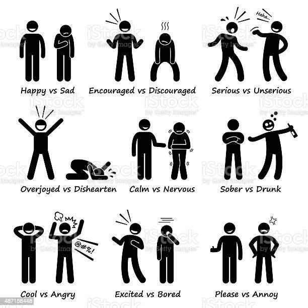 Human Opposite Behaviour Positive Vs Negative Character Traits Stockvectorkunst en meer beelden van Pictogram