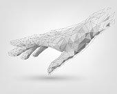 Polygonal mesh white human hand, technology, modeling, robot arm
