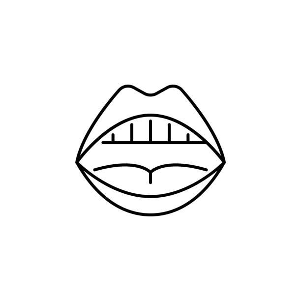 stockillustraties, clipart, cartoons en iconen met menselijke orgel mond open outline icon. de tekens en de symbolen kunnen voor web, embleem, mobiele app, ui, ux worden gebruikt - tasting