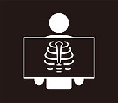 istock human organ rib cage flat icon, taking an X ray photograph of  patient 1283004483