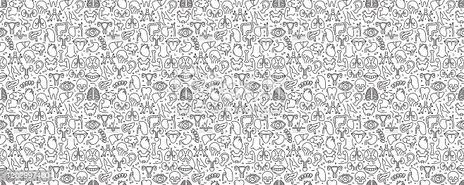 Human Organs and Anatomy Seamless Pattern and Background with Line Icons
