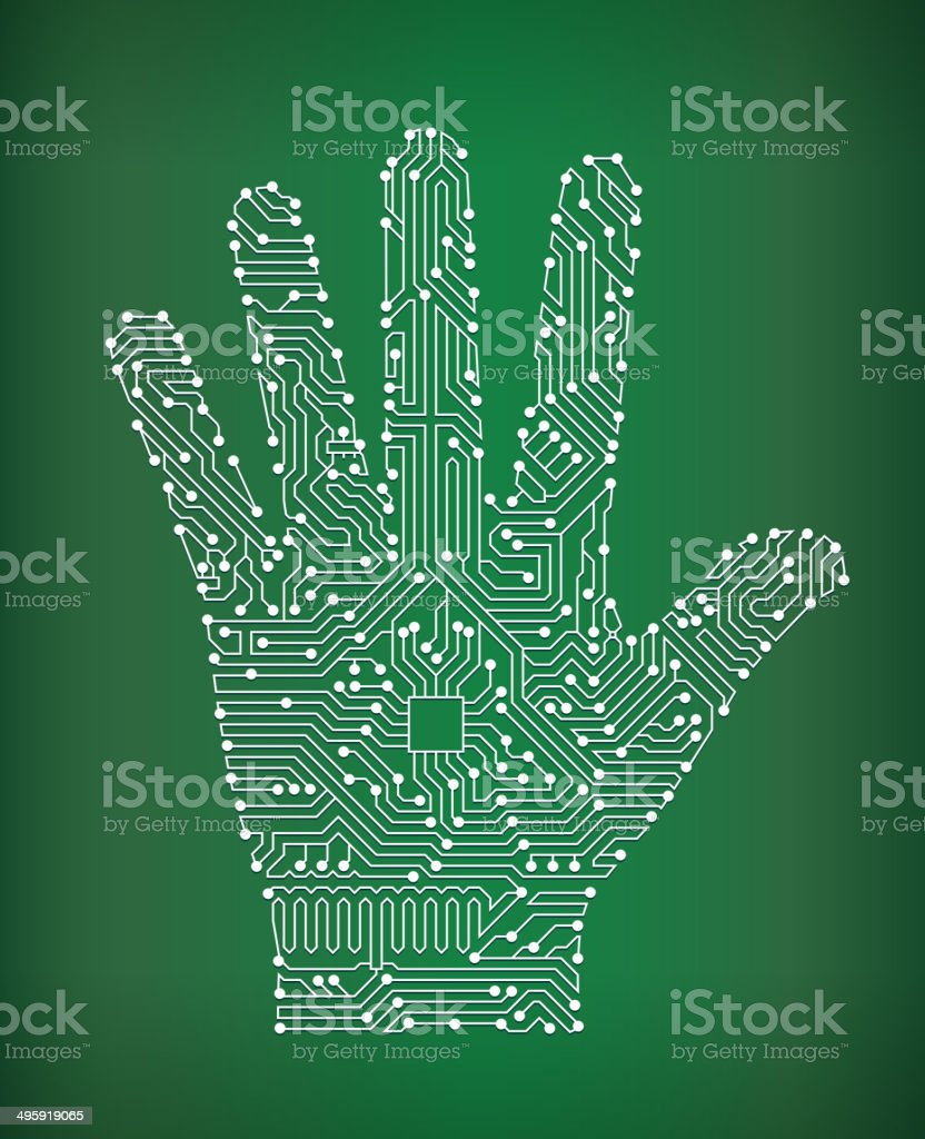 Human Palm Circuit Board royalty free vector art background vector art illustration