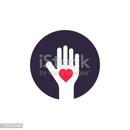Human Palm Heart Inside Logo Design, Vector Donate Symbol Illustration.
