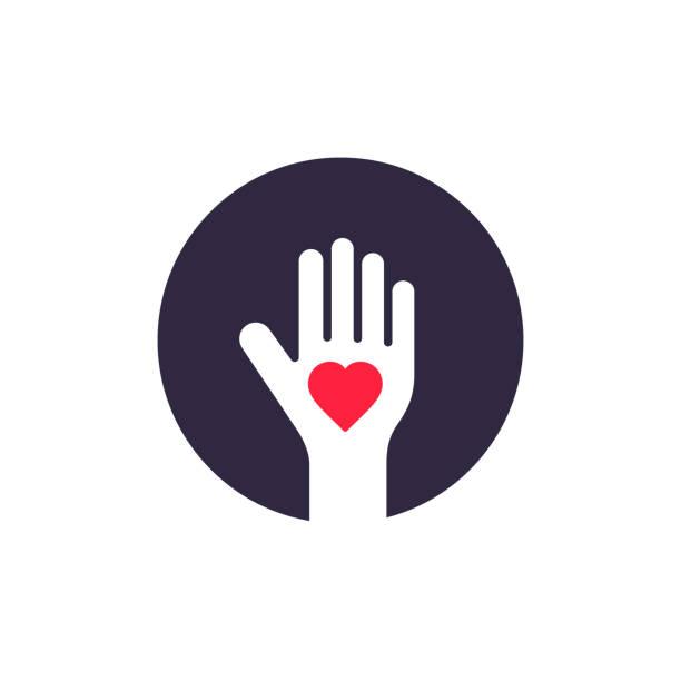 Human Palm Heart Inside Logo Design, Vector Donate Symbol Illustration Human Palm Heart Inside Logo Design, Vector Donate Symbol Illustration. love emotion stock illustrations