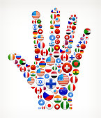 Human Palm with World Flag Buttons