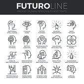Modern thin line icons set of human personality, thinking traits, mind abilities. Premium quality outline symbol collection. Simple mono linear pictogram pack. Stroke vector  concept for web graphics.