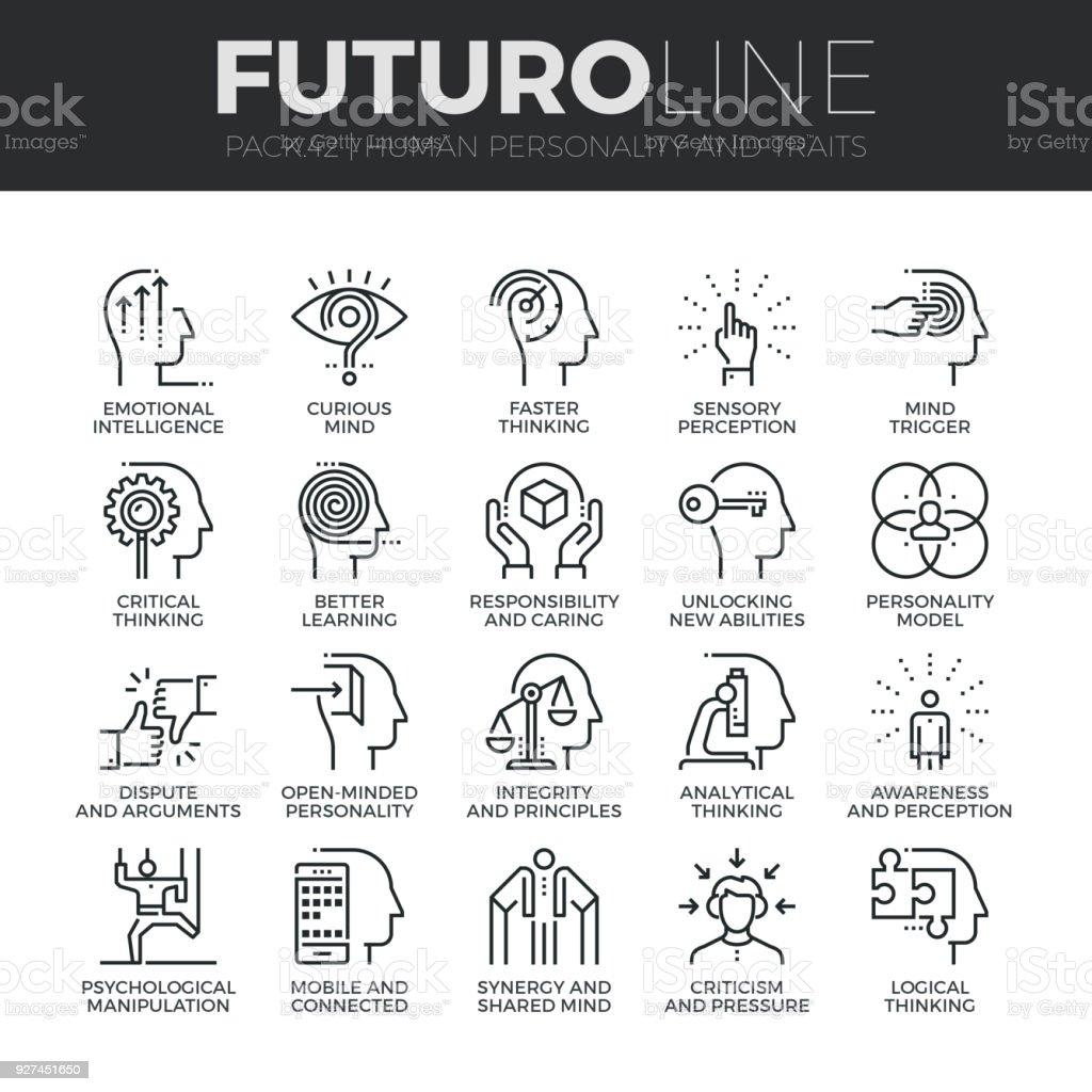 Human Personality Futuro Line Icons Set vector art illustration