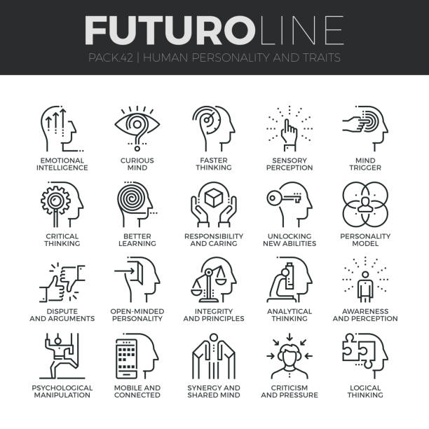 Human Personality Futuro Line Icons Set Modern thin line icons set of human personality, thinking traits, mind abilities. Premium quality outline symbol collection. Simple mono linear pictogram pack. Stroke vector  concept for web graphics. sensory perception stock illustrations