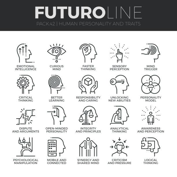 stockillustraties, clipart, cartoons en iconen met menselijke persoonlijkheid futuro lijn icons set - conflict