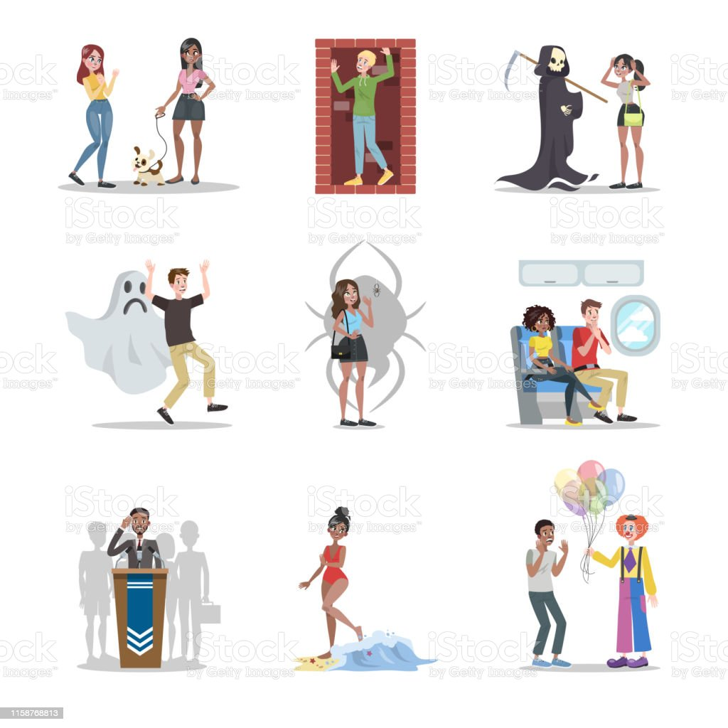 Human phobia set. Collection royalty-free human phobia set collection stock illustration - download image now