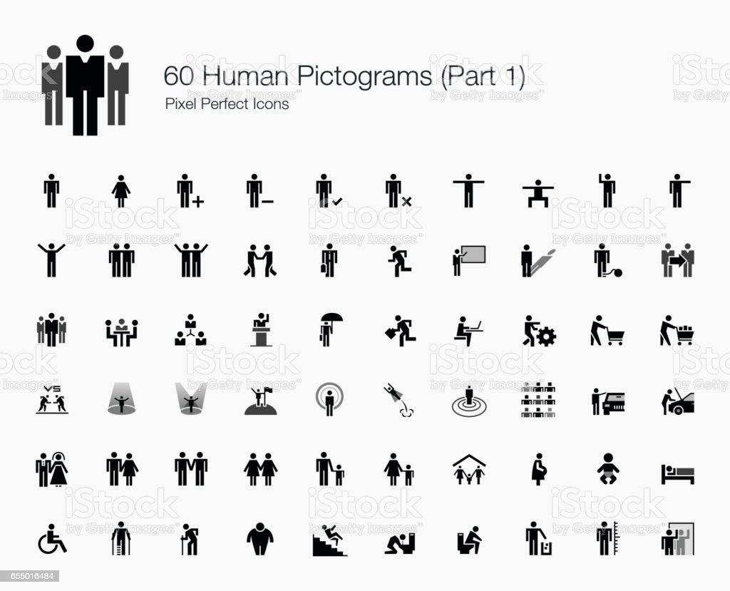 60 Human Pictograms (Part 1 of 2) vector art illustration
