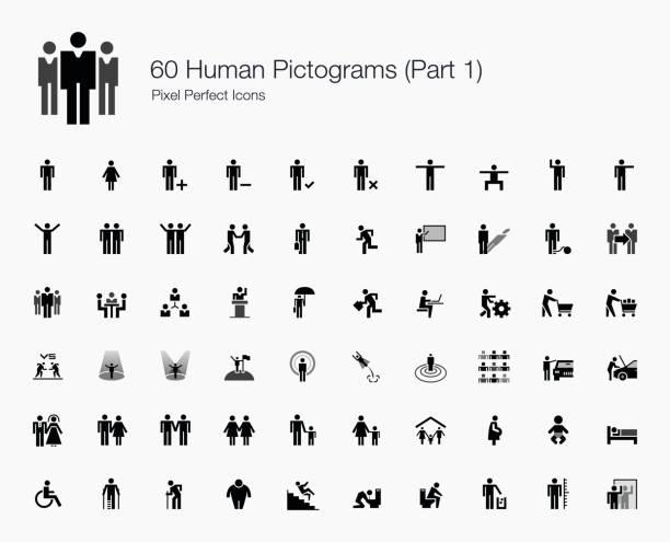 ilustrações, clipart, desenhos animados e ícones de 60 pictogramas humanas (parte 1 de 2) - político