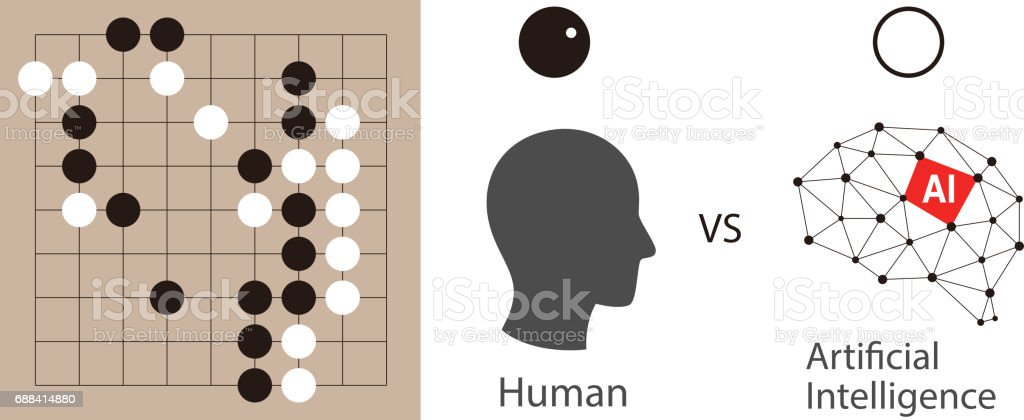Human Playing Go Game With Artifical Intelligence Vector Illustration Royalty Free