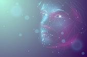 human polygonal face in vector