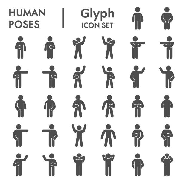 Human poses solid icon set. Figure symbols collection or vector sketches. Basic body language signs for computer web, glyph style pictogram package isolated on white background. Vector graphic. Human poses solid icon set. Figure symbols collection or vector sketches. Basic body language signs for computer web, glyph style pictogram package isolated on white background. Vector graphic human limb stock illustrations
