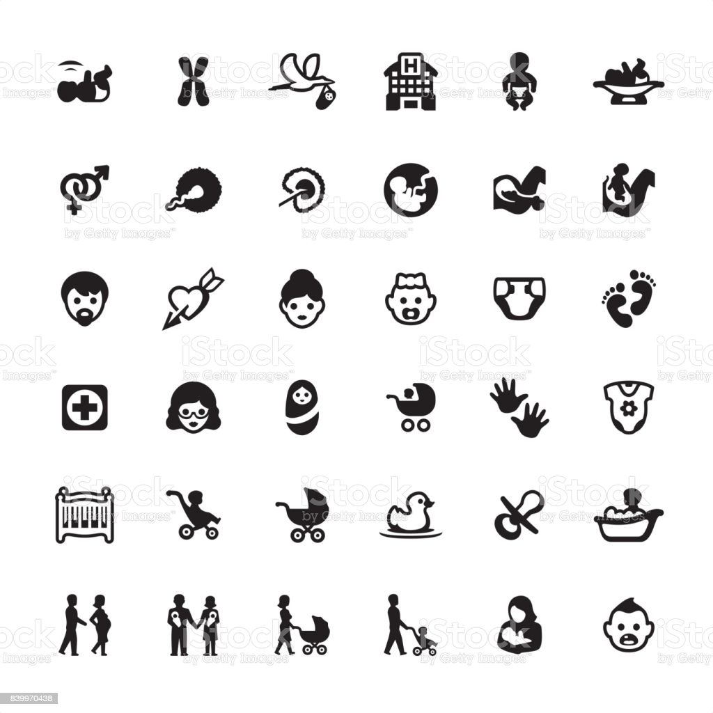 Human Pregnancy and Newborn - icons set