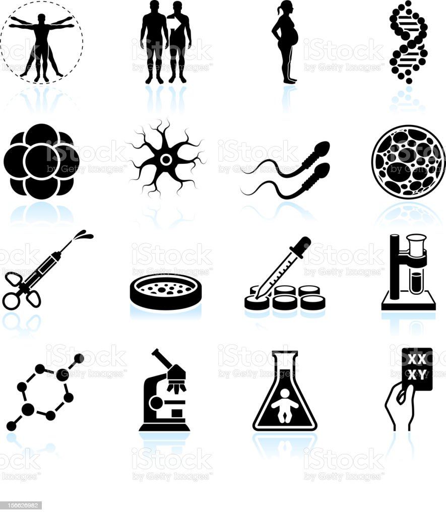 human pregnancy, fertility and cloning black & white icon set royalty-free stock vector art