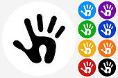 Human Print Icon on Flat Color Circle Buttons