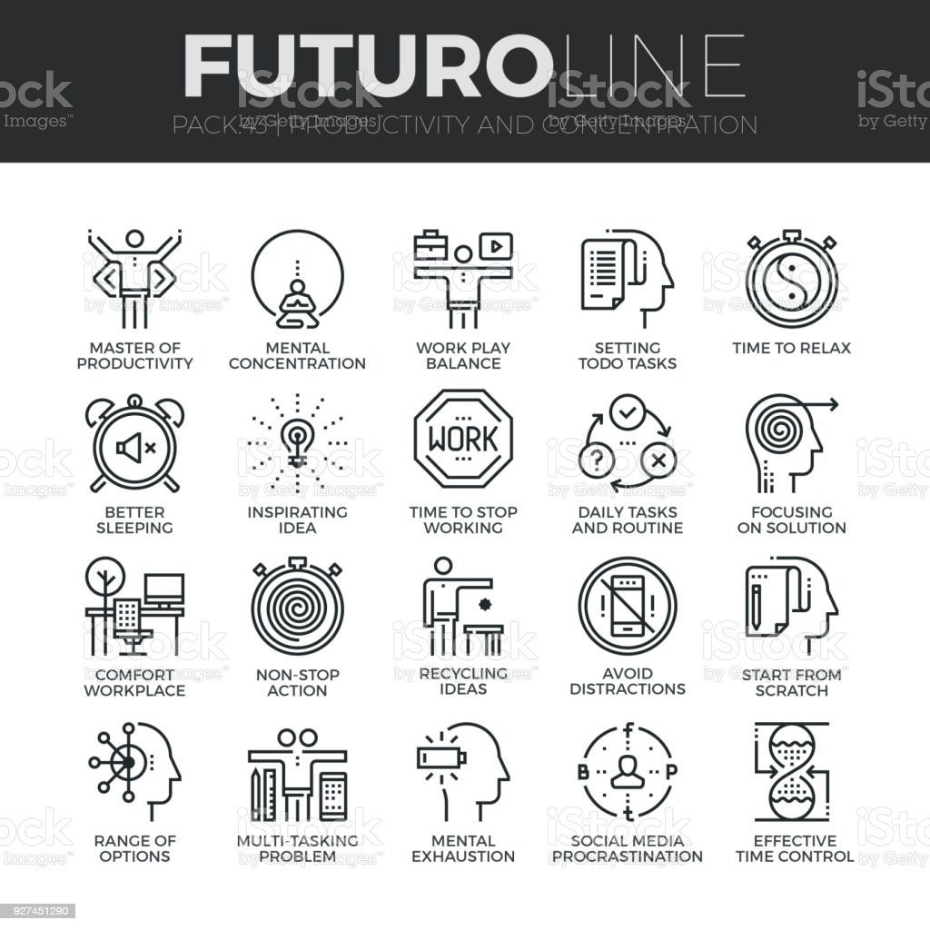 Human Productivity Futuro Line Icons Set vector art illustration