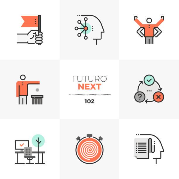 ilustrações de stock, clip art, desenhos animados e ícones de human productivity futuro next icons - training