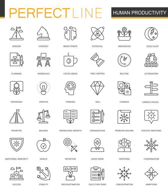 menschliche produktivität dünne linie web icons set. aufgabe konzentration schlaganfall symbole rahmenplanung. - entspannungsmethoden stock-grafiken, -clipart, -cartoons und -symbole