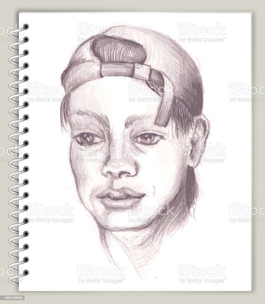 Menschliche Profil Zeichnung Auf Kunst Sketcbook Lizenzfreie ...