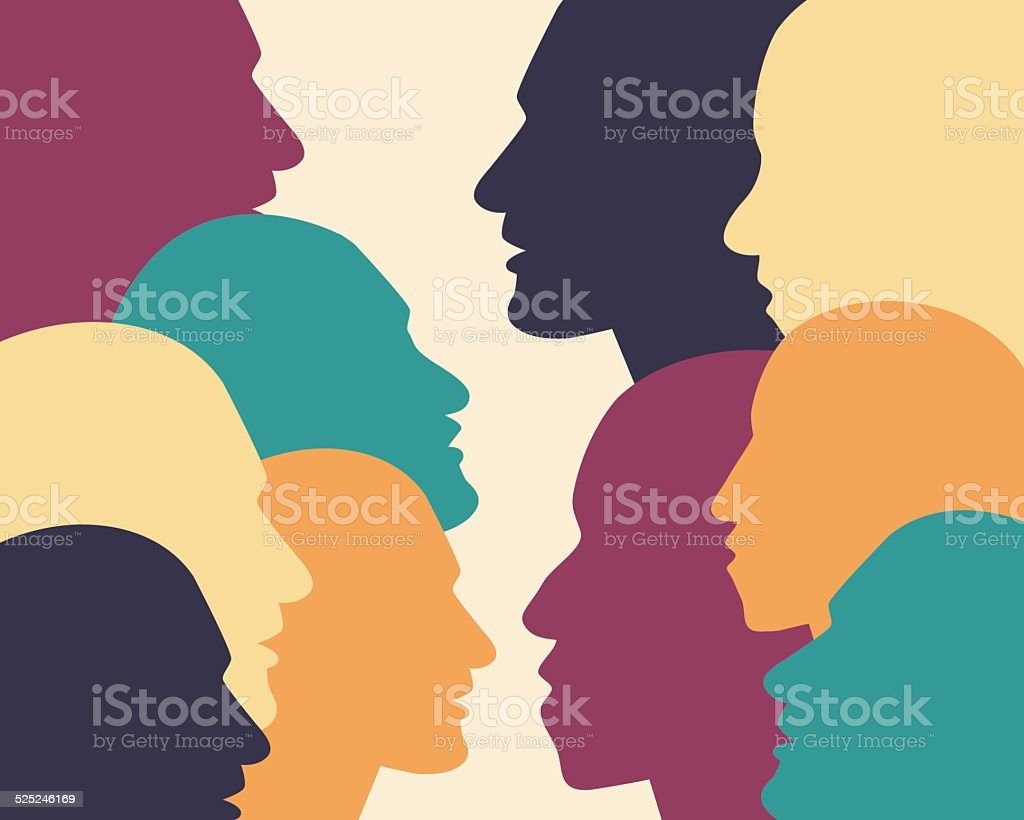 Human profile head in dialogue. vector art illustration